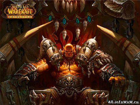 Вождь Орды Гаррош на своем троне
