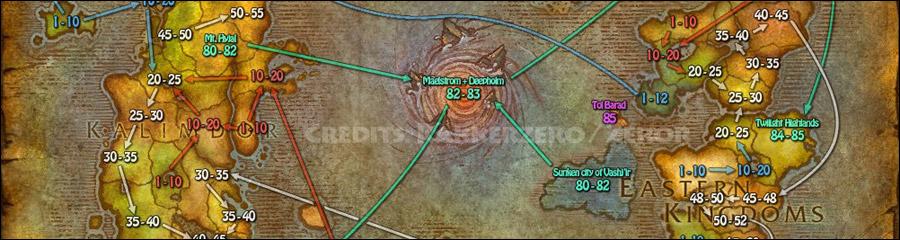 Карта путей прокачки в Катаклизме